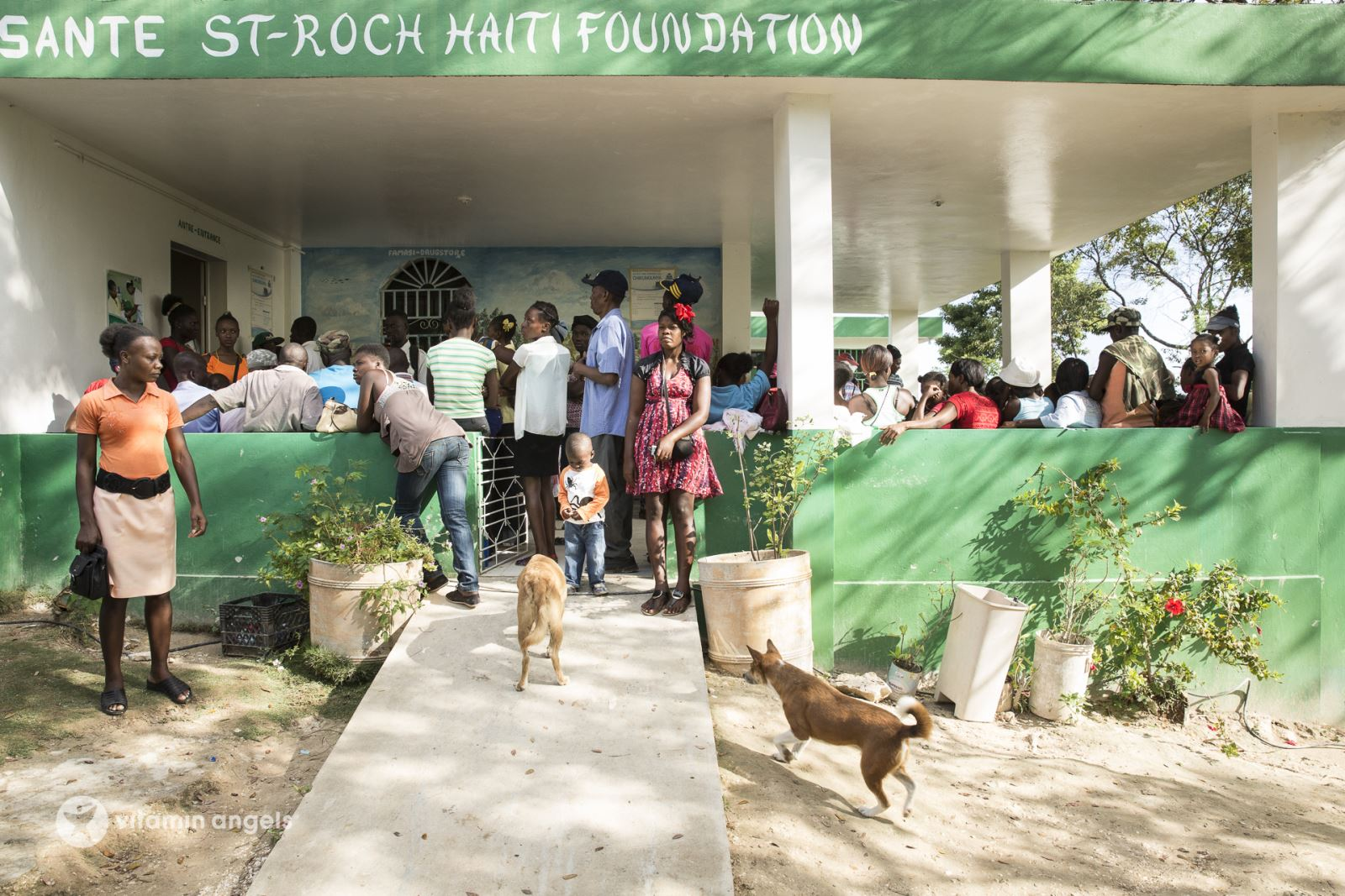 Patients waiting outside the clinic